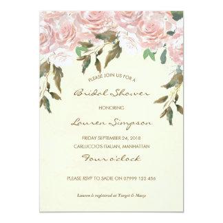 Cartão Chá de panela floral do rosa e o branco