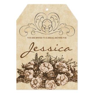 Cartão Chá de panela floral do Sepia do vintage