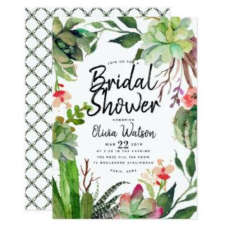 Cartão Chá de panela floral do Succulent elegante do