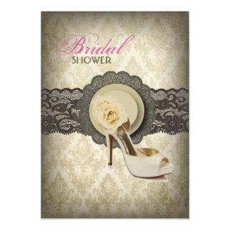 Cartão Chá de panela floral do vintage do damasco do laço