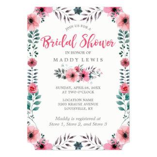 Cartão Chá de panela floral elegante das papoilas da