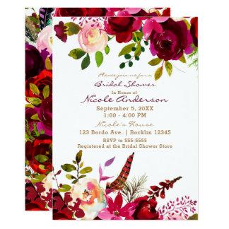 Cartão Chá de panela floral marrom de Bordo Borgonha Boho