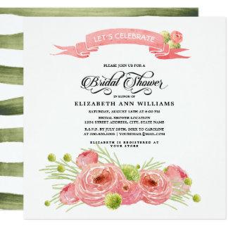 Cartão Chá de panela floral romântico da pintura
