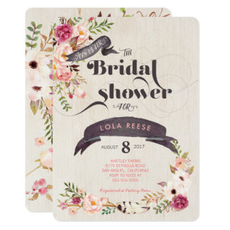 Cartão Chá de panela floral rústico