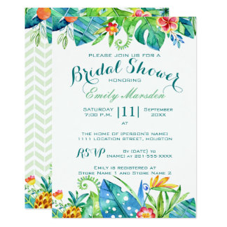 Cartão Chá de panela floral tropical