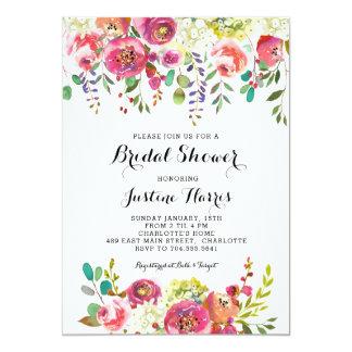 Cartão Chá de panela, flores cor-de-rosa