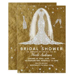 Cartão Chá de panela Glam do ouro do vestido de casamento
