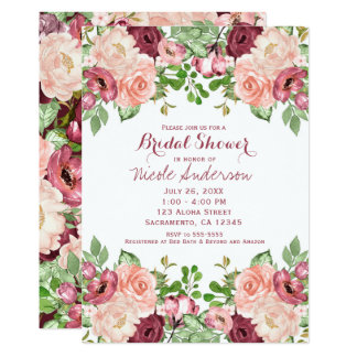 Cartão Chá de panela Glam floral rústico de Marsala