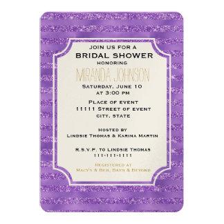 Cartão Chá de panela Glittery roxo das listras