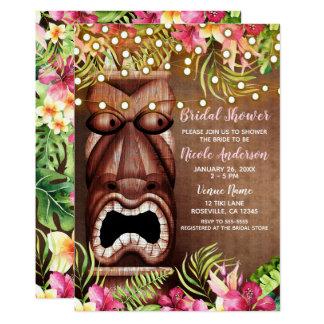 Cartão Chá de panela havaiano de madeira do verão de Tiki