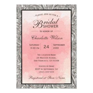 Cartão Chá de panela metálico da prata cor-de-rosa da
