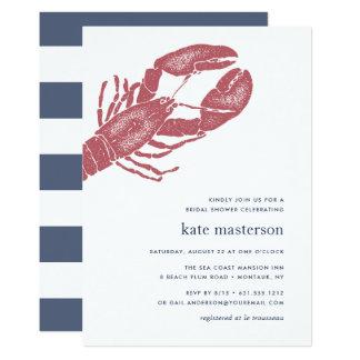 Cartão Chá de panela náutico da lagosta