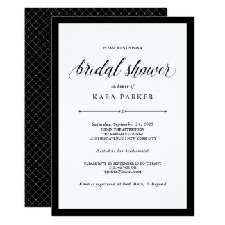 Cartão Chá de panela preto e branco elegante do Couture  