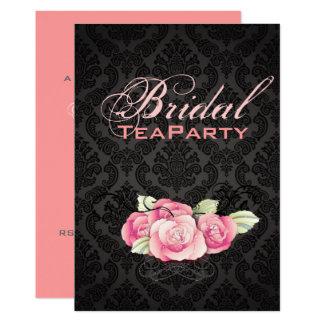 Cartão Chá de panela preto gótico do rosa do rosa do