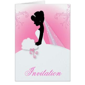 Cartão chá de panela romântico da silhueta da noiva do