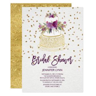 Cartão Chá de panela roxo do bolo do ouro chique