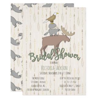 Cartão Chá de panela rústico dos animais da floresta