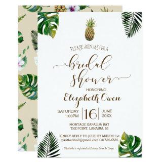 Cartão Chá de panela tropical de Luau do abacaxi das