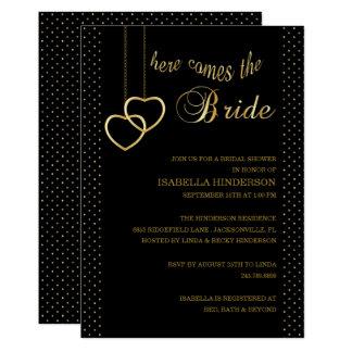 Cartão Chá de panela - vem aqui a noiva - preto & ouro