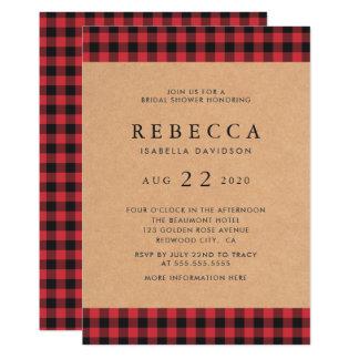 Cartão Chá de panela vermelho & preto rústico da xadrez