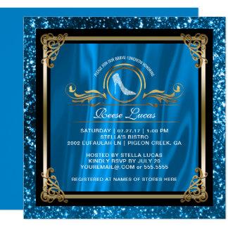 Cartão Chá de panela Wedding azul do ouro | do almoço