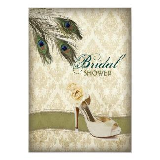 Cartão chá de panela wedding do pavão do damasco do