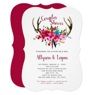 Cartão Chá floral cor-de-rosa fúcsia dos casais dos