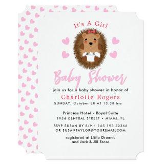 Cartão Chá irrisório bonito do bebé do coração do rosa do