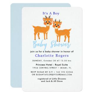 Cartão Chá irrisório bonito do bebé do inverno dos cervos