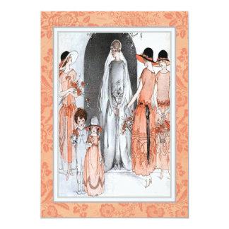 Cartão Chá nupcial do partido da ilustração do 1920 do