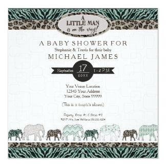 Cartão Chá pequeno da zebra dos elefantes do safari do