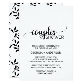 Cartão Chá preto & branco simples dos casais da