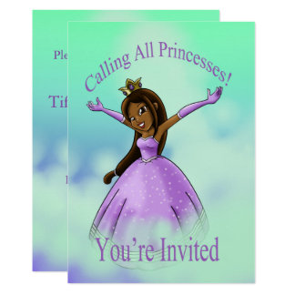 """Cartão """"Chamando todas as princesas Aniversário Convite"""""""
