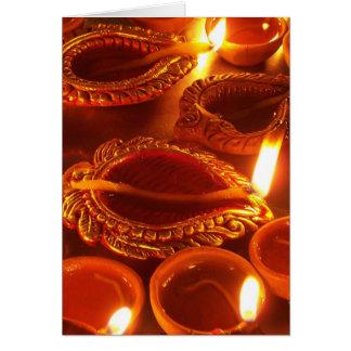 Cartão chamas do diya do diwali