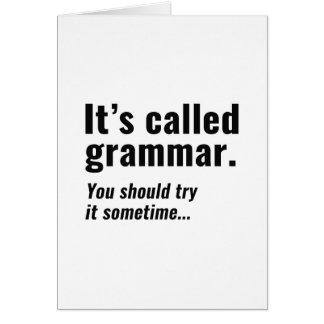 Cartão Chamou Gramática