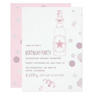 Cartão Champagne cor-de-rosa e o aniversário adulto dos