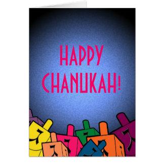 Cartão Chanukah feliz com dreidles