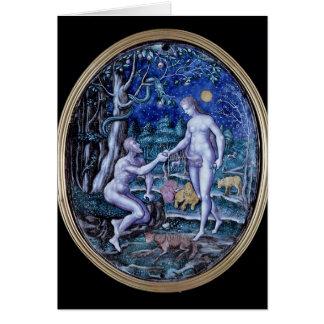 Cartão Chapa de Limoges que descreve Adam e véspera,