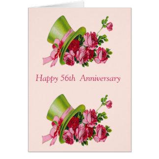 Cartão Chapéu alto e flores, 56th aniversário feliz