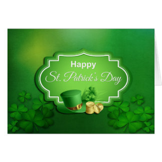 Cartão Chapéu alto & moedas do dia de St Patrick -