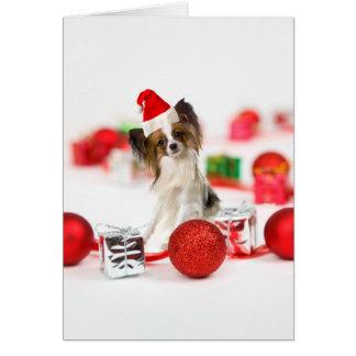 Cartão Chapéu bonito do papai noel do Natal do cão de
