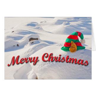 Cartão Chapéu do duende do papai noel em uma fotografia