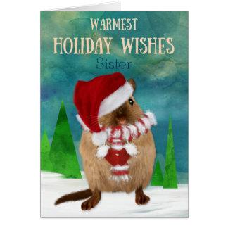 Cartão Chapéu do papai noel do Gerbil do Natal da irmã na