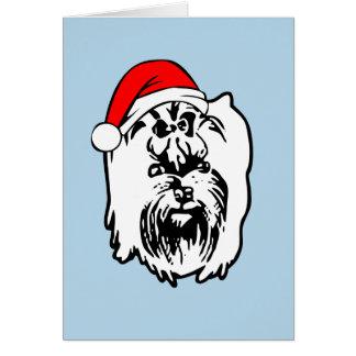Cartão Chapéu do papai noel do Natal do cão do yorkshire