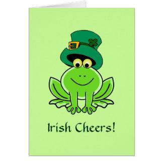 Cartão Chapéu irlandês engraçado do Leprechaun do sapo