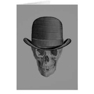 Cartão Chapéu monocromático de Derby do crânio