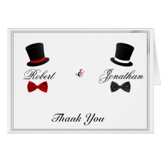 Cartão Chapéus altos e obrigado alegre do casamento dos