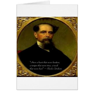 Cartão Charles Dickens & citações sentido