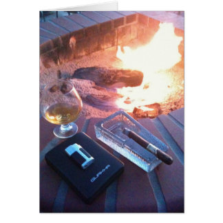 Cartão Charuto e uma bebida pelo fogo