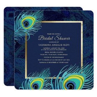 Cartão Chás de panela do design da pena do pavão